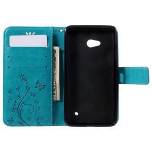Butterfly PU kožené puzdro pre Microsoft Lumia 640 - modré - 6