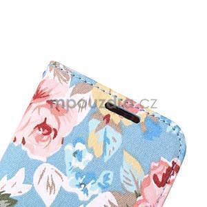 Kvetinové peňaženkové púzdro na HTC One Mini 2 -  modré - 6
