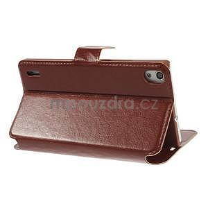 Peňaženkové puzdro pre Huawei Ascend P7 - hnedé - 6