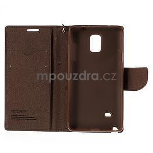 Stylové peňaženkové puzdro na Samsnug Galaxy Note 4 - čierne/hnedé - 6