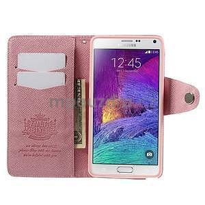 Zapínací peneženkové poudzro Samsung Galaxy Note 4 - ružové - 6