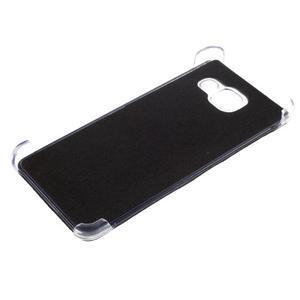 Plastový obal s koženkovým plátem na Samsung Galaxy A3 (2016) - černý - 6