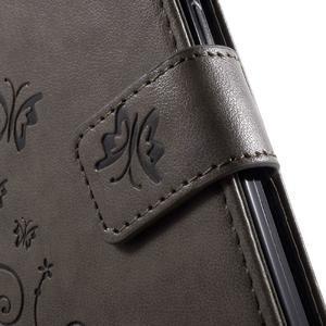 Butterfly PU kožené puzdro pre Samsung Galaxy Core Prime - šedé - 6