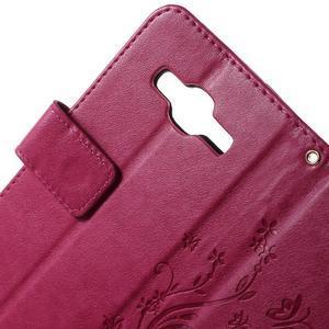 Butterfly PU kožené puzdro pre Samsung Galaxy Core Prime - rose - 6