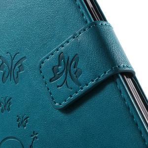 Butterfly PU kožené puzdro pre Samsung Galaxy Core Prime - modré - 6