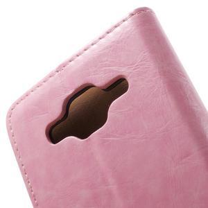 Horse PU kožené puzdro pre mobil Samsung Galaxy Core Prime - ružové - 6