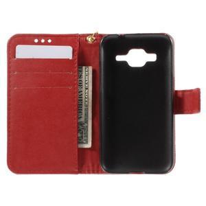 Croco peněženkové pouzdro na Samsung Galaxy Core Prime - červené - 6