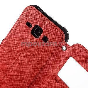 Kožené puzdro s okienkom Samsung Galaxy J1 - červené/čierné - 6