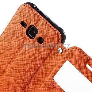 Kožené puzdro s okýnkem Samsung Galaxy J1 - oranžové/tmavě modré - 6