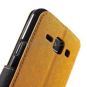 Kožené puzdro s okienkom Samsung Galaxy J1 - žlté/čierné - 6