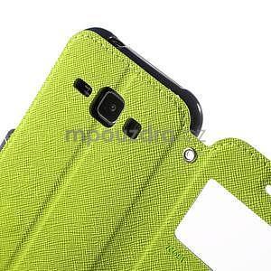 Kožené puzdro s okienkom Samsung Galaxy J1 - zelené/tmavo modré - 6