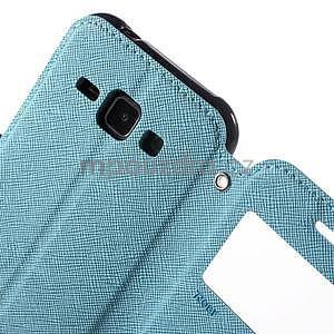 Kožené puzdro s okýnkem Samsung Galaxy J1 - světle modré/tmavě modré - 6
