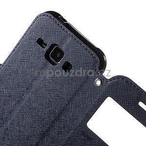 Kožené puzdro s okýnkem Samsung Galaxy J1 - tmavě modré/čierné - 6