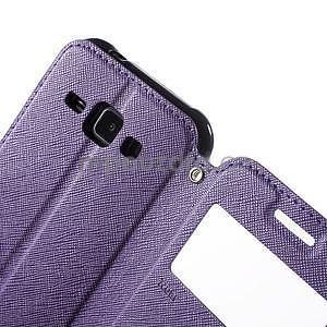 Kožené puzdro s okienkom Samsung Galaxy J1 - fialové/tmavo modré - 6