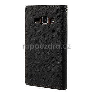Čierné/hnedé kožené puzdro pre Samsung Galaxy J1 - 6