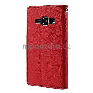 Červené/tmavě modré kožené puzdro na Samsung Galaxy J1 - 6