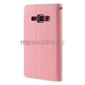 Růžové/rose kožené puzdro na Samsung Galaxy J1 - 6