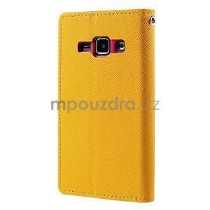 Žluté/rose kožené puzdro na Samsung Galaxy J1 - 6