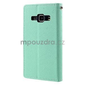 Azurové/tmavě modré kožené puzdro na Samsung Galaxy J1 - 6