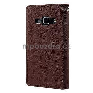 hnedé/čierné kožené puzdro na Samsung Galaxy J1 - 6