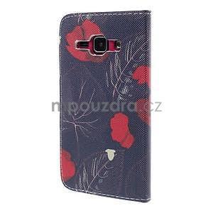Zapínací puzdro pre Samsung Galaxy J1 - červená květina - 6