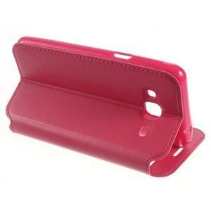 Peňaženkové PU kožené puzdro s okienkom pre Samsung Galaxy J3 (2016) - rose - 6