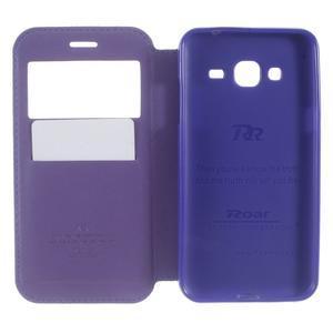 Peňaženkové PU kožené puzdro s okienkom pre Samsung Galaxy J3 (2016) - tmavomodré - 6