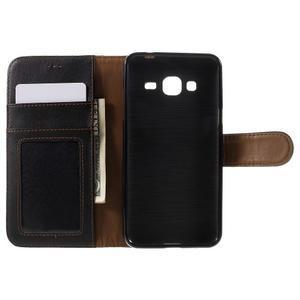 High PU kožené pouzdro na mobil Samsung Galaxy J3 (2016) - černé - 6