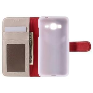 High PU kožené pouzdro na mobil Samsung Galaxy J3 (2016) - bílé - 6
