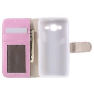 High PU kožené pouzdro na mobil Samsung Galaxy J3 (2016) - růžové - 6