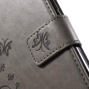 Butterfly PU kožené puzdro pre Samsung Galaxy J5 - šedé - 6