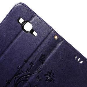 Butterfly PU kožené puzdro pre Samsung Galaxy J5 - fialové - 6