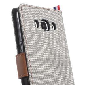 Denim peňaženkové puzdro pre Samsung Galaxy J5 (2016) - šedé - 6