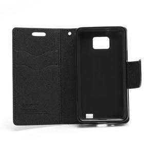 Diary PU kožené puzdro pre mobil Samsung Galaxy S2 - čierne - 6