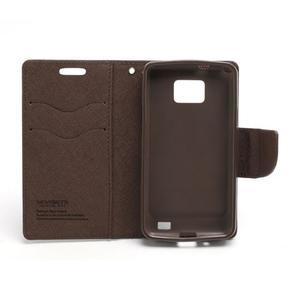 Diary PU kožené puzdro pre mobil Samsung Galaxy S2 - čierne/hnedé - 6