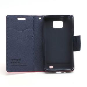 Diary PU kožené pouzdro na mobil Samsung Galaxy S2 - červené - 6