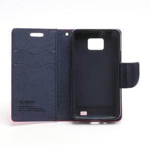 Diary PU kožené puzdro pre mobil Samsung Galaxy S2 - rose - 6