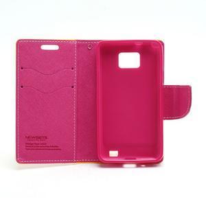 Diary PU kožené puzdro pre mobil Samsung Galaxy S2 - žlté - 6