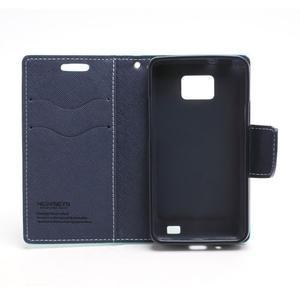 Diary PU kožené puzdro pre mobil Samsung Galaxy S2 - azúrové - 6