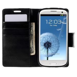 Diary PU kožené puzdro pre mobil Samsung Galaxy S3 - čierne - 6