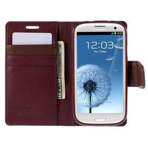 Diary PU kožené puzdro pre mobil Samsung Galaxy S3 - vínové - 6