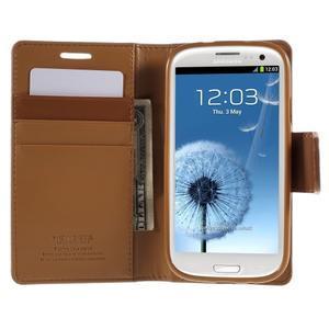 Diary PU kožené puzdro pre mobil Samsung Galaxy S3 - hnedé - 6