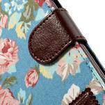 Kvetinové puzdro pre mobil Samsung Galaxy S3 - modré pozadie - 6/7
