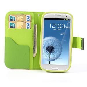 Tricolors PU kožené puzdro pre mobil Samsung Galaxy S3 - tmavozelený stred - 6