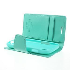 Diary PU kožené puzdro pre Samsung Galaxy S3 mini - azúrové - 6