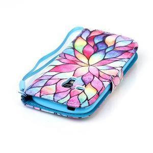 Knížkové PU kožené puzdro pre Samsung Galaxy S3 mini - farebné kvety - 6