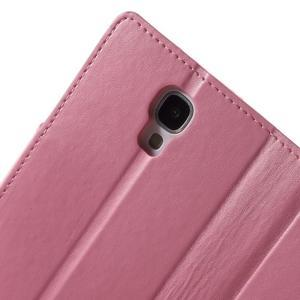 Diary PU kožené puzdro pre mobil Samsung Galaxy S4 - ružové - 6