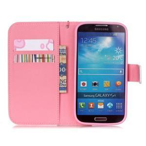 Knížkové koženkové puzdro pre Samsung Galaxy S4 - flower - 6