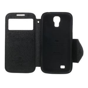 Okýnkové peňaženkové puzdro pre mobil Samsung Galaxy S4 - čierne - 6