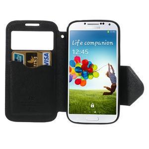 Okýnkové peňaženkové puzdro pre mobil Samsung Galaxy S4 - tmavomodré - 6